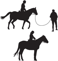 Woman on the horse silhouette vector