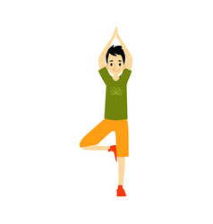 Young man standing in balance yoga pose cartoon vector