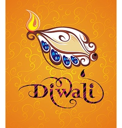 Beautiful greeting card for festival Diwali vector image