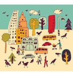 Doodles urban park landscape walking color city vector image
