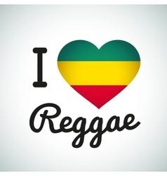 I love Reggae Heart Jamaican music vector image