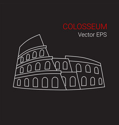 line icon of colosseum rome italy vector image vector image