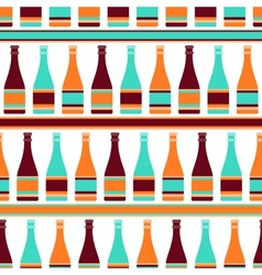Seamless pattern with bottles of champagne in vector image vector image