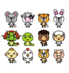 12 Chinese Zodiac cartoon animal vector image vector image