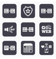 Export file signs Convert DOC to PDF symbols vector image vector image