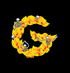 Letter g hellish flames and sinners font fiery vector