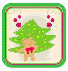 Winter background with funny Teddy bear vector image vector image