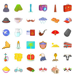 world tourism icons set cartoon style vector image vector image