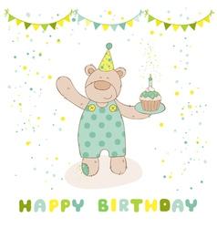 Happy birthday and party card - baby bear vector