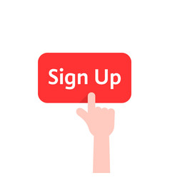 simple finger presses on sign up button isolated vector image vector image