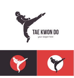 taekwondo logo template martial arts badge vector image
