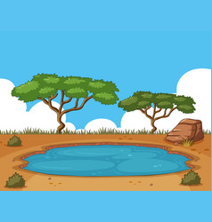 background scene with pond in the field vector image
