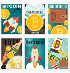 bitcoin posters set vector image
