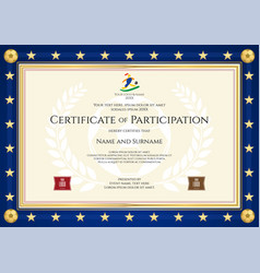 certificate of participation in sport theme vector image vector image