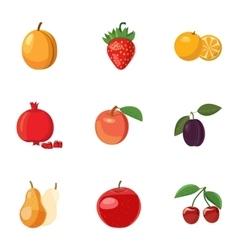 Fresh fruit icons set cartoon style vector image