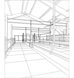 Industrial building constructions indoor tracing vector