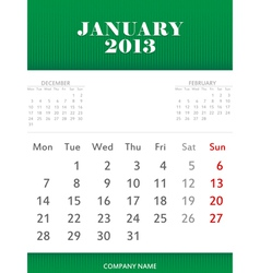 January 2013 calendar design vector image