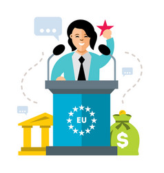 woman speaker flat style colorful cartoon vector image