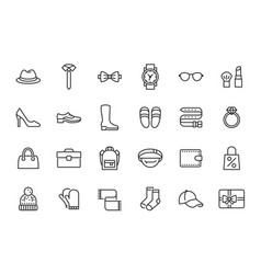 accessory fashion line icons vector image