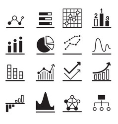 Analytic graph icon set vector