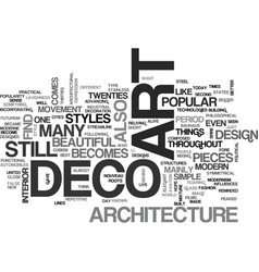 Art deco and architecture text word cloud concept vector