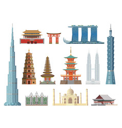 asian landmarks flat color historical city vector image