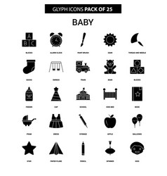 Baby glyph icon set vector