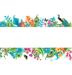 Banner with tropical leaves flowers and a bird vector