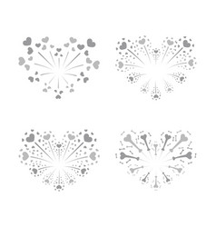 beautiful heart-fireworks set silver romantic vector image