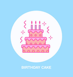 birthday cake line icon logo for bakery vector image