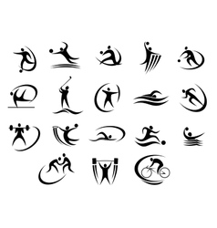 Black silhouette stylized athletes set vector image