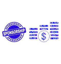 Blue scratched sponsorship seal and dollar coin vector