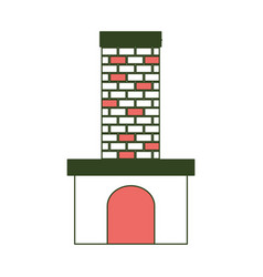 brick fireplace on color section silhouette vector image
