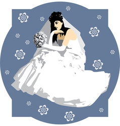 bride with a bouquet of flowers vector image