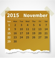 Calendar november 2015 colorful torn paper vector