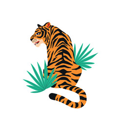 Card with cute tiger on white background vector