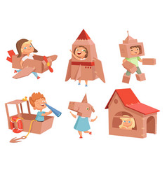Cardboard kids playing children games with paper vector