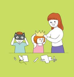 cartoon cute teacher and students vector image