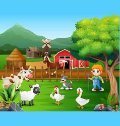 Cartoon of a farmer at his farm with a bunch of fa vector