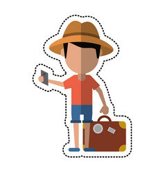 Cartoon traveler man with suitcase passport vector