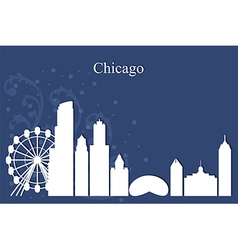 Chicago city skyline on blue background vector image