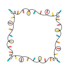 christmas lights garlands frame template vector image