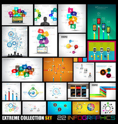 collection 22 infographics for social media and vector image