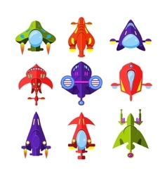 Colourful Cartoon Rockets and Spaceships vector