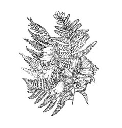 composition bell flowers with fern leaves vector image