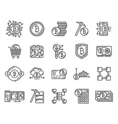 Cryptocurrency bitcoin mining blockchain icons vector