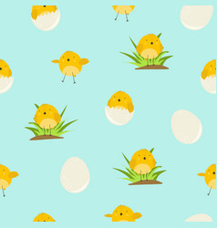 cute blue pattern with cartoon yellow chickens vector image