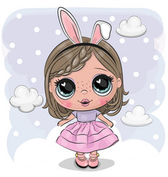 cute cartoon girl on a cloud vector image