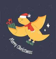 Cute flying dino in holiday clothing and greetings vector