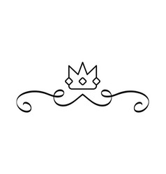 Elegant divider with crown icon vector